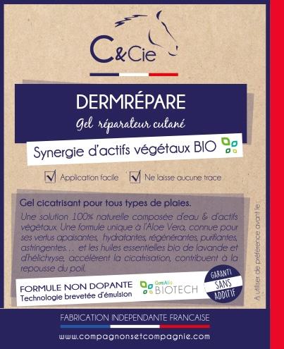 C&cie Dermrépare est gel cicatrisant, particulièrement recommandé pour les plaies récentes ou anciennes, rebelles ou bourgeonnantes, superficielles ou profondes, les écorchures, les irritations cutanées, ...