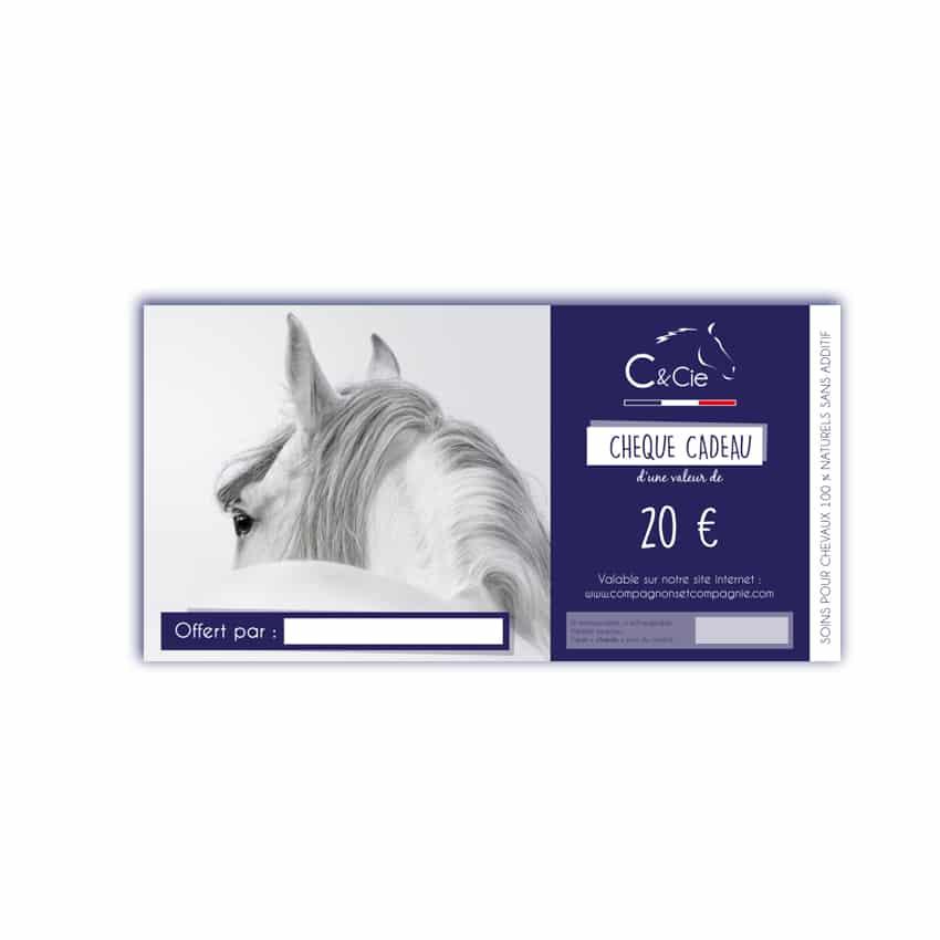 Chèque cadeau pour les soins pour chevaux & poneys 100% naturels à base d'huiles essentielles C&cie