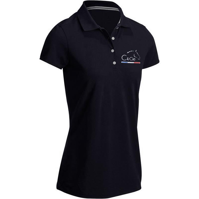 C&cie fabricant de soins naturels pour chevaux_polo bleu marine pour femme brodé par Arcanciel