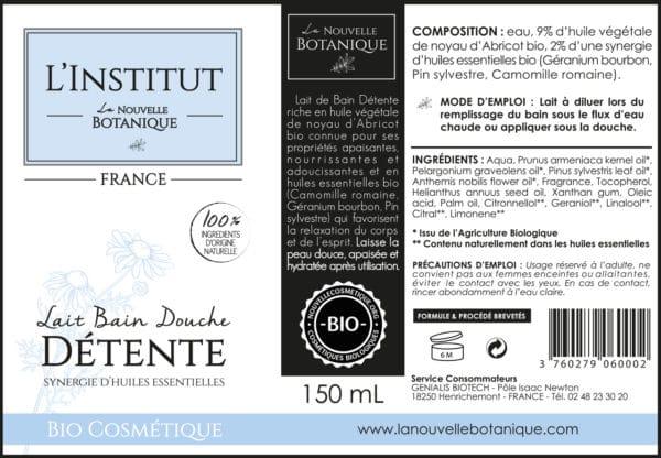 La Nouvelle Botanique_Hydrolatherapie_Cosmetique Bio_Lait de bain DETENTE aux huiles essentielles Bio_huile végétale noyau abricot_BD_