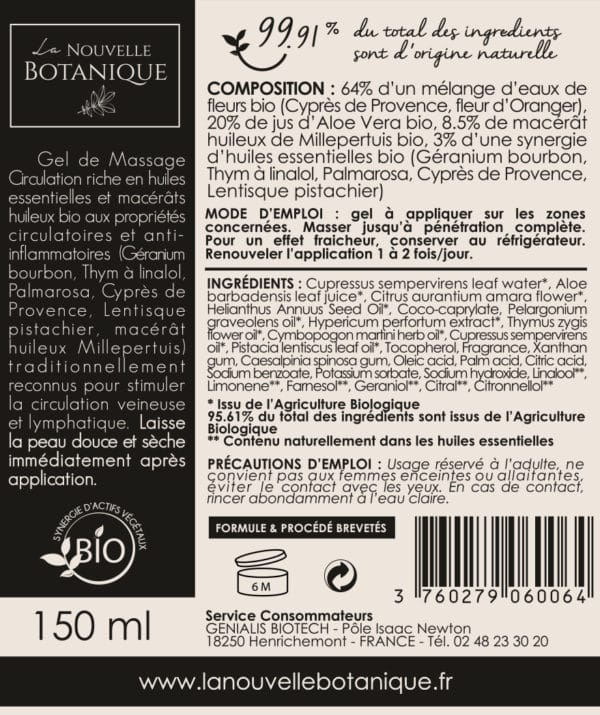 La Nouvelle Botanique_Aromatherapie_Cosmetique Bio_Gel de massage CIRCULATION synergie essentielles bio_stimule circulation veineuse et lymphatique_