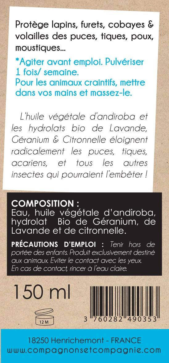 Stop Parasite NAC_Anti parasitaire naturel pour furet rongeur poule cobaye lapin aux eaux florales bio