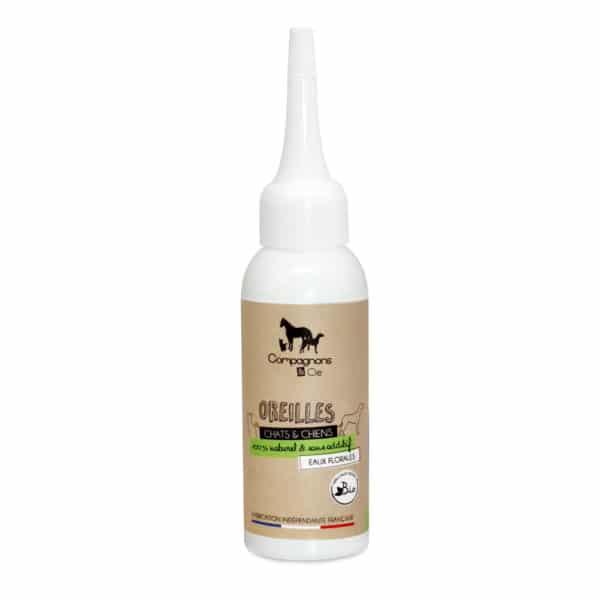 Soin nettoyant traitant et purifiant pour les oreilles des chiens et des chats, soin naturel aux eaux florales bio