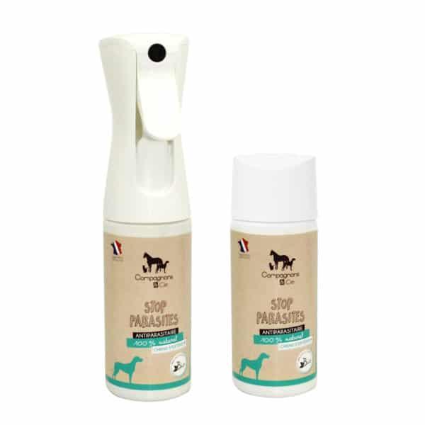 Compagnons&cie_anti parasitaires_soins naturels pour chien EXTERIEUR_sans additif_brumisateur aux eaux florales_PACK meutes chiens